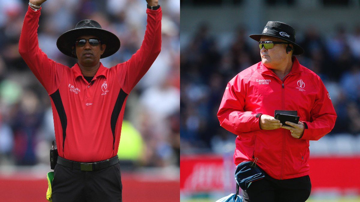 The match officials for the #CWC19 final have been announced. On-field umpires: Kumar Dharmasena and Marais Erasmus Third umpire: Rod Tucker Fourth official: Aleem Dar Match referee: Ranjan Madugalle #INDvNZL #ENGvNZ #NZvENG #NZvsIND #DhoniInBillionHearts