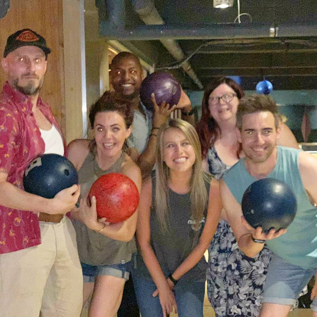 STRIKE!🎳 | We are the @ComeFromAwayUK Bowling team! We had much fun competing against other shows in the West End Amateur Bowling League. On to the FINALS!!! 💙💛 (📷: @racheltucker01) . . . #WeAllComeFromAway #ComeFromAwayUK #ComeFromAway #WestEnd #Bowling #Gagadagagagaga