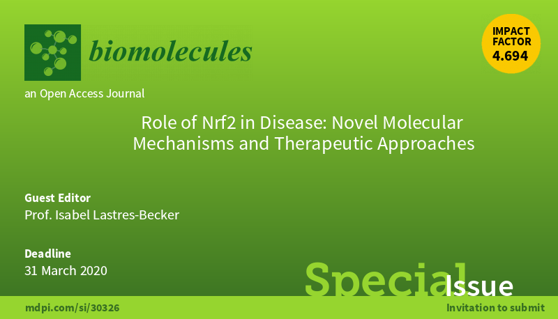 """New Special Issue """"Role of Nrf2 in Disease: Novel Molecular Mechanisms and Therapeutic Approaches"""" by Prof. Isabel Lastres-Becker @isalabe13 @UAM_Madrid ✏️Open for submissions 🗓️31 March 2020 #inflammation #autophagy #proteasome #proteostasis #oxidativestress #neurodegeneration"""