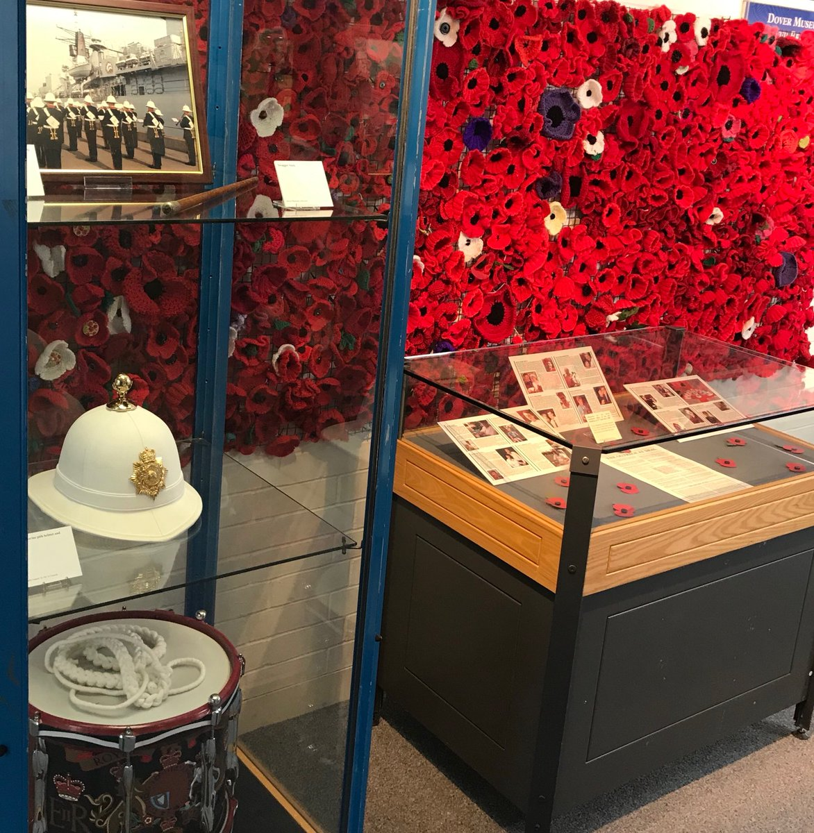 'Eleven Empty Spaces'  Exhibition at Dover Museum. In memory of 11 Royal Marine Musicians who tragically lost their lives. #1989 @RMBandService  @DealBandstand #wewillrememberthem <br>http://pic.twitter.com/D1Qg7e7NNt