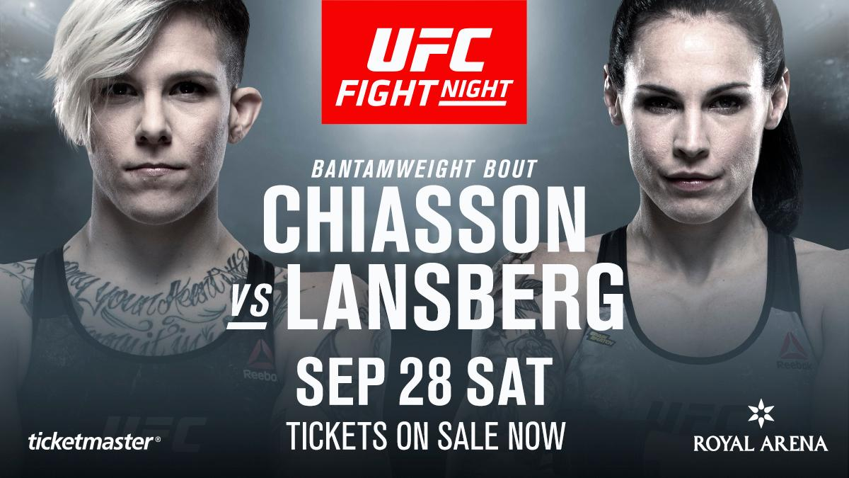 Incoming! @LinaLansberg faces @Macy_Chiasson at #UFCCopenhagen!  Get your tickets now: http://bit.ly/30xKTBo