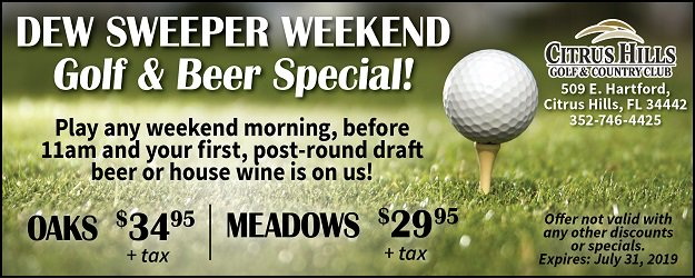 Golf with us on the weekend and relax afterwards with a cold beer on us! #CHGCC #CitrusHillsFL #FLGolf #VOCH #PublicWelcome #HernandoFL #GolfFun #dewsweeper #WeekendGolfSpecial
