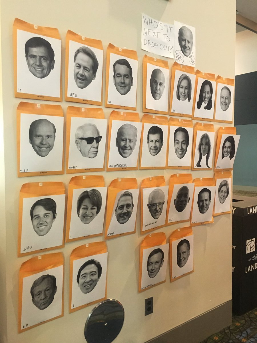A wall at #NN19 where people are betting who will drop out next. The high numbers for Biden and Sanders seem more aspirational than reality based