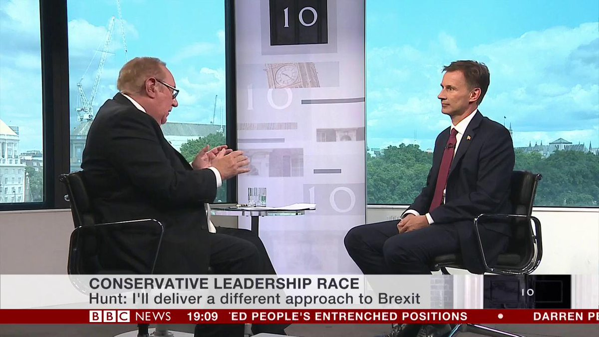 I will be talking to EU leaders in August and September, you dont need an EU summit to talk to them @AfNeil challenges Jeremy Hunt on shifting his focus to no-deal #Brexit planning before the new PMs first EU Summit, due in October bbc.in/32nZuRV #BBCOurNextPM