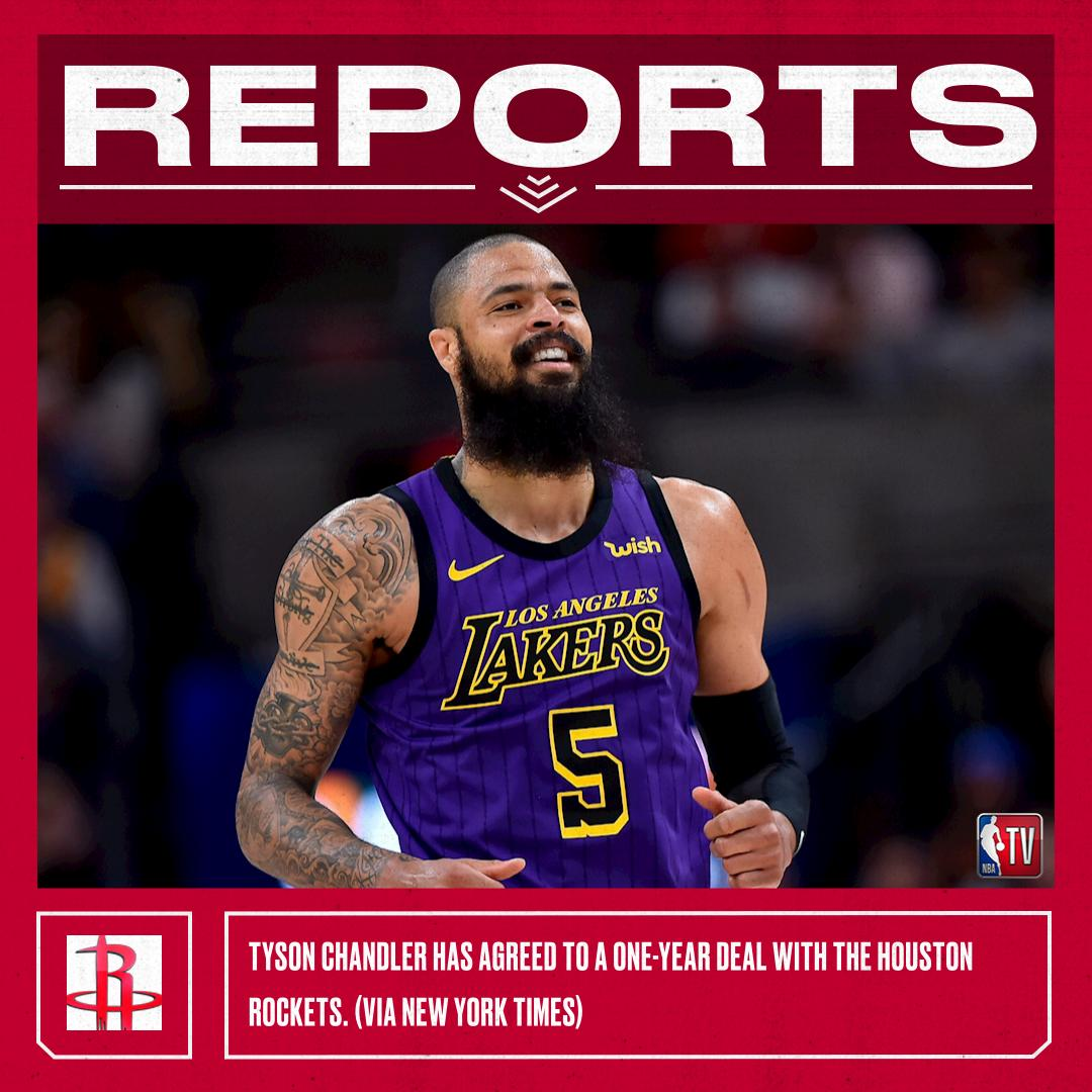 Tyson Chandler has agreed to a one-year deal with the Houston Rockets. (via The New York Times)