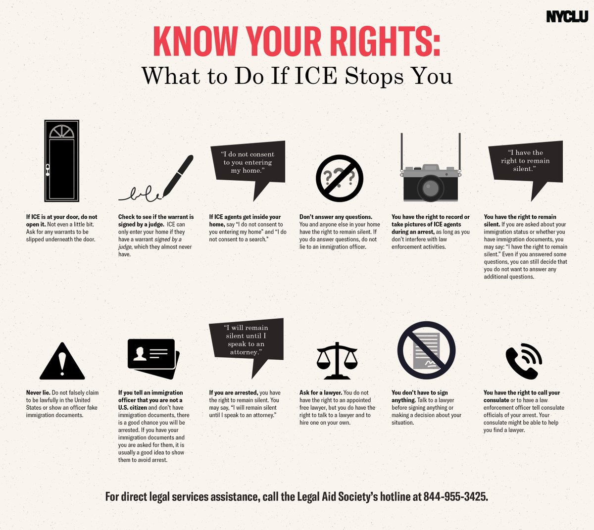 With #ICERaids looming, here are a few things everyone should know:  DO NOT: -open your door to ICE -sign anything -lie to an ICE agent  DO: -ask to see a warrant signed by a judge -insist on your right to remain silent -have someone document the interaction -ask for a lawyer <br>http://pic.twitter.com/8ujKiU5lFW