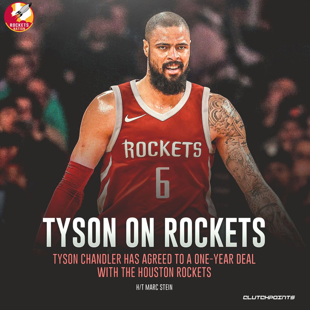 The first move following the big splash trade to acquire Russell Westbrook, the #Rockets have brought aboard big man Tyson Chandler.  #Runasone