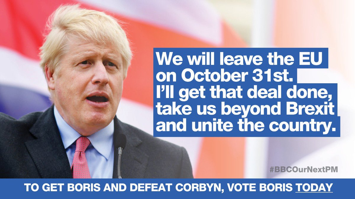 Only @BorisJohnson will...  ✅ Deliver Brexit by 31st October ✅ Unite our Country ✅ Defeat Jeremy Corbyn  #BBCOurNextPM #BackBoris