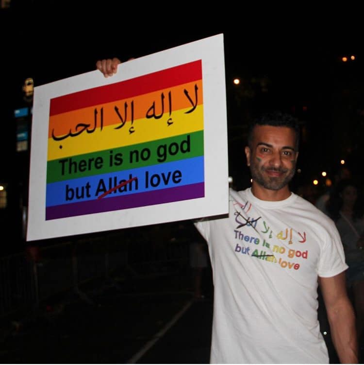 Love the iconic photo, LOVE the sign.  It's inspiring to see more and more secular activists from the Muslim world fighting homophobia within our communities. #LoveWinsEverywhere  @ReasonOnFaith #Pride @NYCPride #Pride2019
