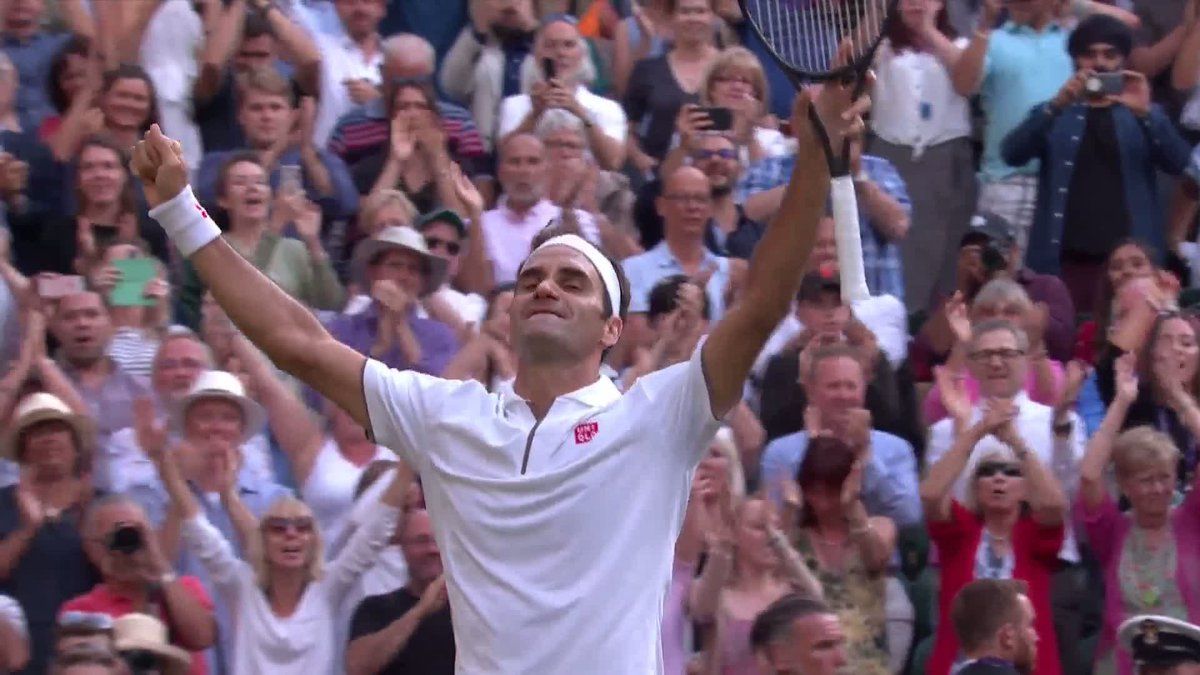 The moment @rogerfederer reached his 12th #Wimbledon final...