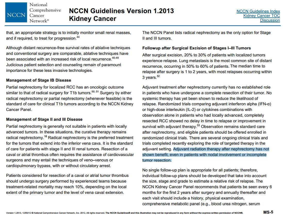 Nicholas Zaorsky Md Ms On Twitter Historically Radiation Therapy For Kidney Cancer Metastases Has Not Been Considered In 2013 The Nccn Guidelines Did Not Mention Radonc As An Option Adjuvant Rt Seemed