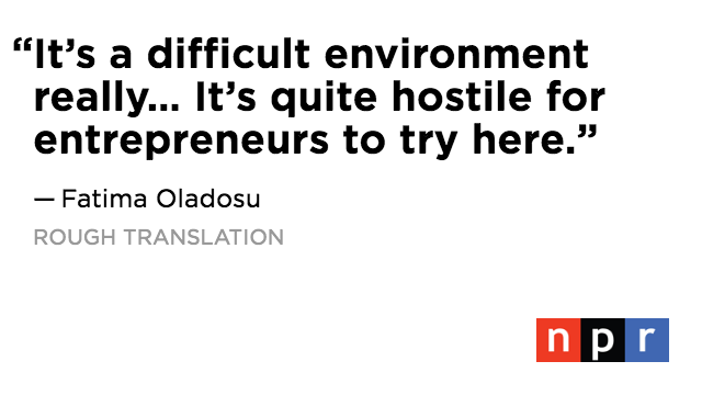 """6/.@FUNLagos says in Nigeria, when a young person says they want to start a business, they're seen as acting """"rude,"""" by straying from the traditional path to success."""