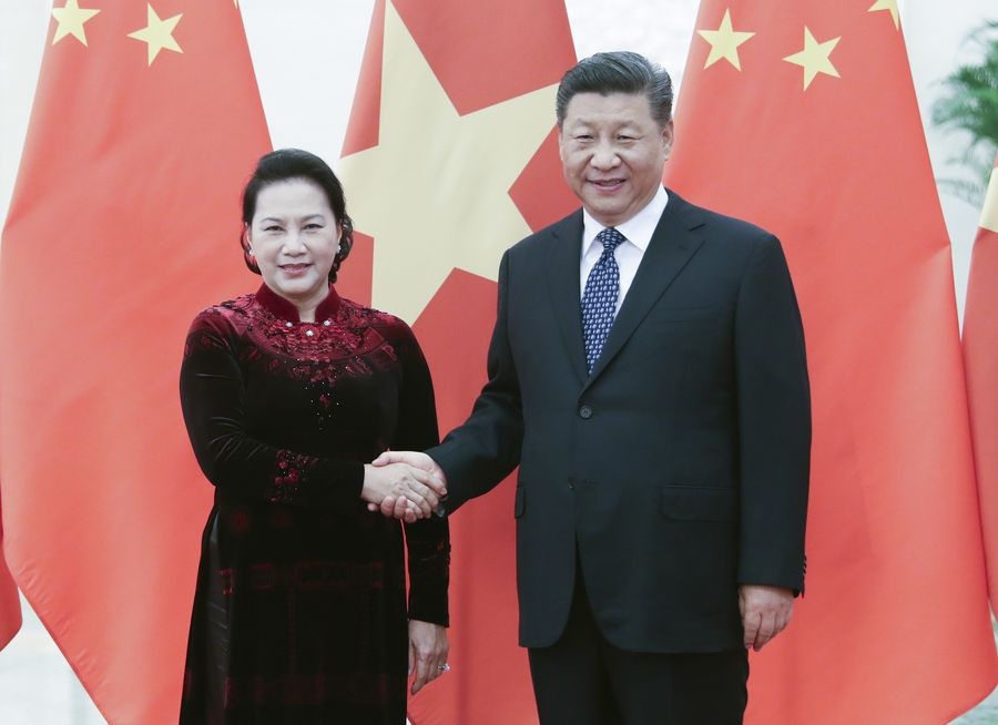 Chinese President Xi Jinping on Friday met with visiting Chairwoman of the National Assembly of Vietnam Nguyen Thi Kim Ngan, calling on the two countries to promote friendship and deepen cooperation to lift bilateral ties to a new level http://xhne.ws/m2LkD
