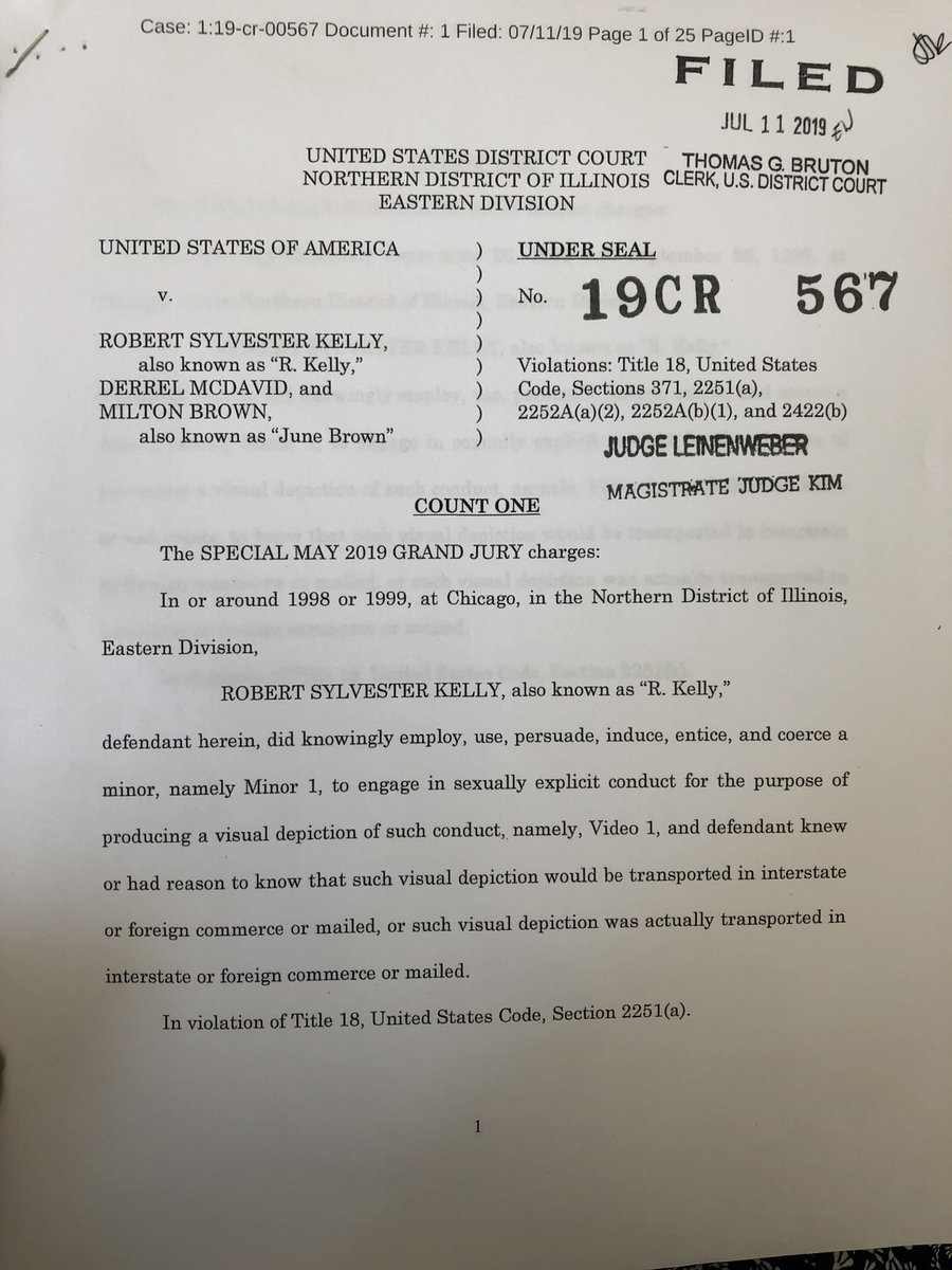 """R. Kelly federal indictment: Counts 1-4 of Northern Dist. Of Illinois indictment allege that R. Kelly mades videos showing minors engaged in """"sexually explicit conduct"""" and had reason to know that those videos would be shared over state lines. @cbschicago"""