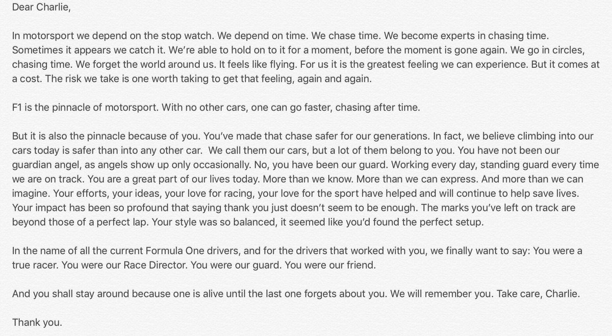 Here is Vettel's tribute towards Charlie Whiting: