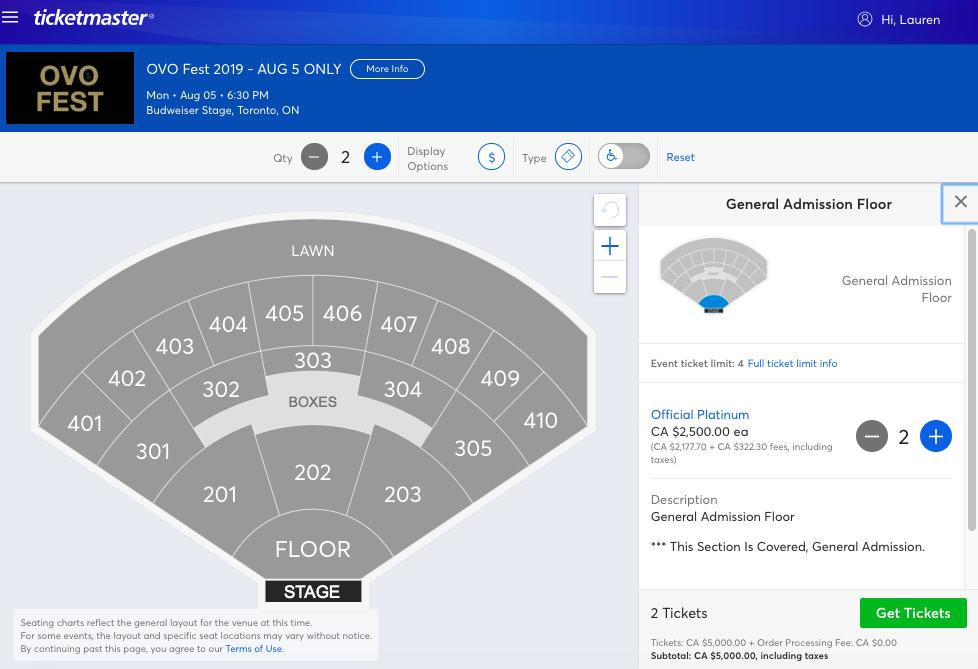 Yeah, I'm not paying $2,500 for one general admission floor seat. Sorry Drake. #OVOFest <br>http://pic.twitter.com/NuY0hXHN9R