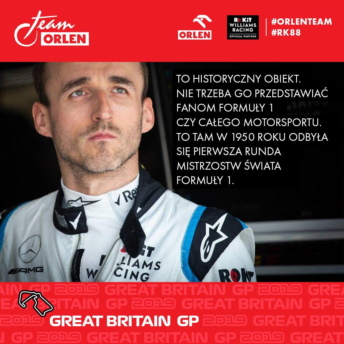 """📣#RK88 🏁wystartuje w niedzielę w #BritishGP. O torze mówi: """"W dobrze przygotowanym samochodzie jazda tam jest niezwykle przyjemna."""" Więcej o najbliższym wyścigu dowiecie się z naszej zapowiedzi.👇  http://www.orlenteam.pl/20190712_1.html  #ORLEN #ORLENTeam #F1"""