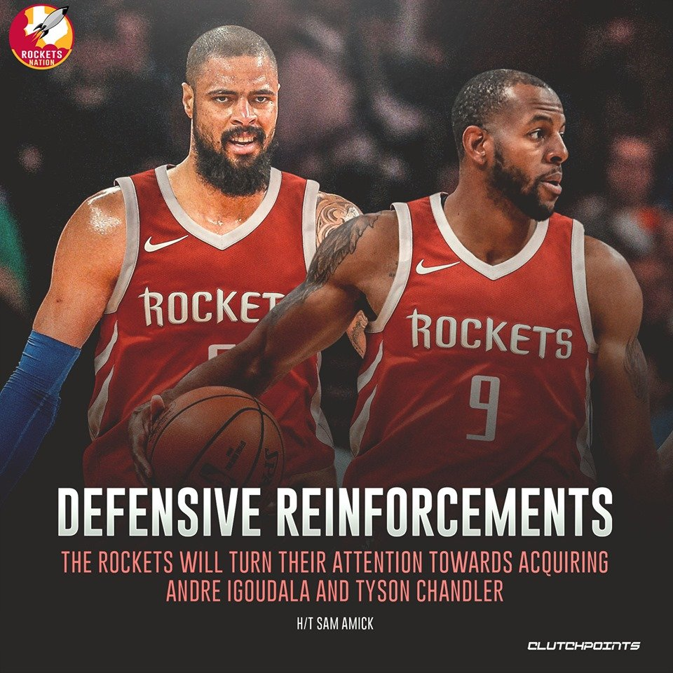 The #Rockets, ideally, should get two. But if it comes down to one, who are you picking between Andre Iguodala and Tyson Chandler?   #NBA #NBATwitter