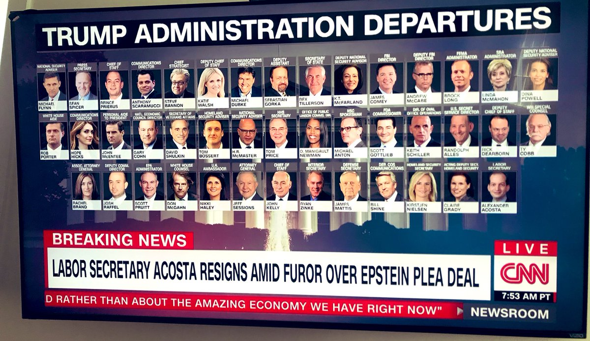 Acosta becomes the 13th Cabinet member to depart the Trump administration. By this time in the Obama admin, none had left. In the George W. Bush admin at this point, one had departed.