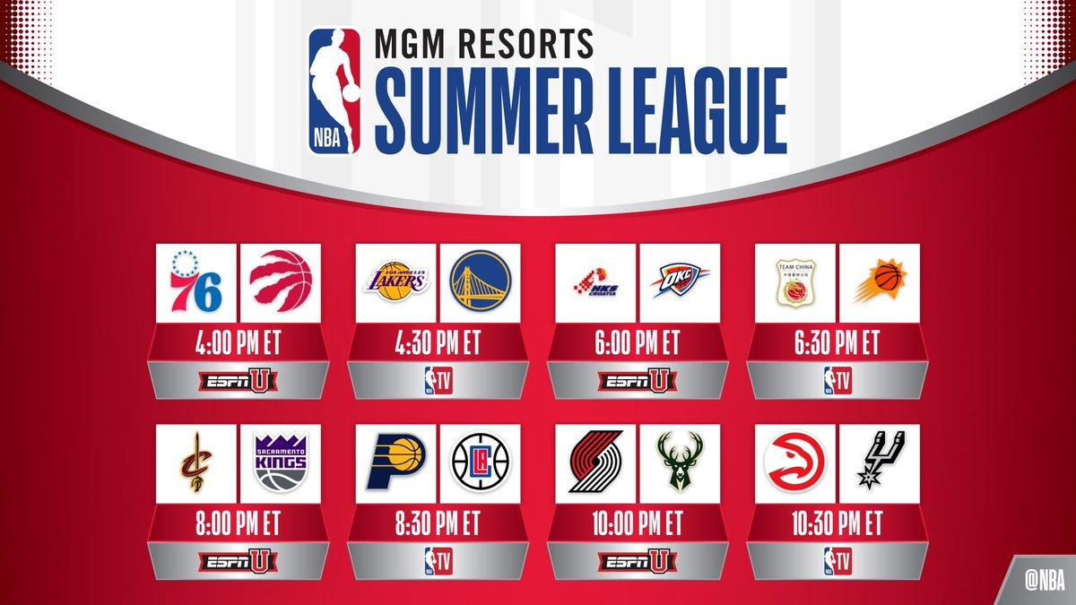 Catch all 8 games of @NBASummerLeague action today on ESPNU & @NBATV! #NBASummer