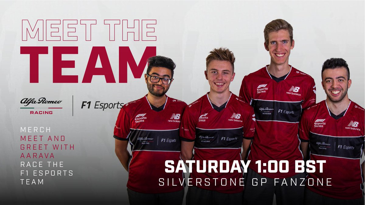 🚨 Big news! 🚨  We're hosting a Meet and Greet at @SilverstoneUK in the @F1 Fanzone tomorrow at 1pm!    You can win @alfaromeoracing merch signed by Kimi and @Anto_Giovinazzi, meet @_aarava, meet our #F1Esports drivers, and race against the drivers on the #F12019 rig! 😍 🏎️