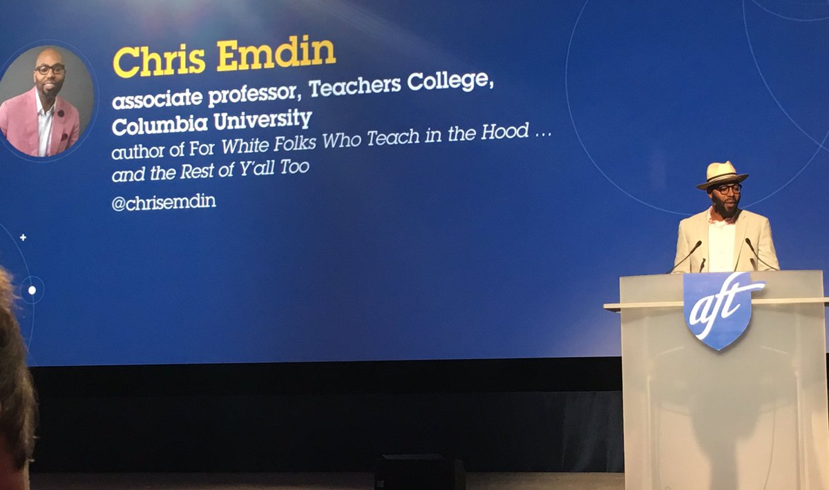 How do we reach all students? Radical proposal: reach the hearts & souls of people nationwide & redefine what our work in education means. By revitalizing our profession & addressing the trauma of our profession being undervalued, students benefit!—@chrisemdin #TEACH19 @AFTteach
