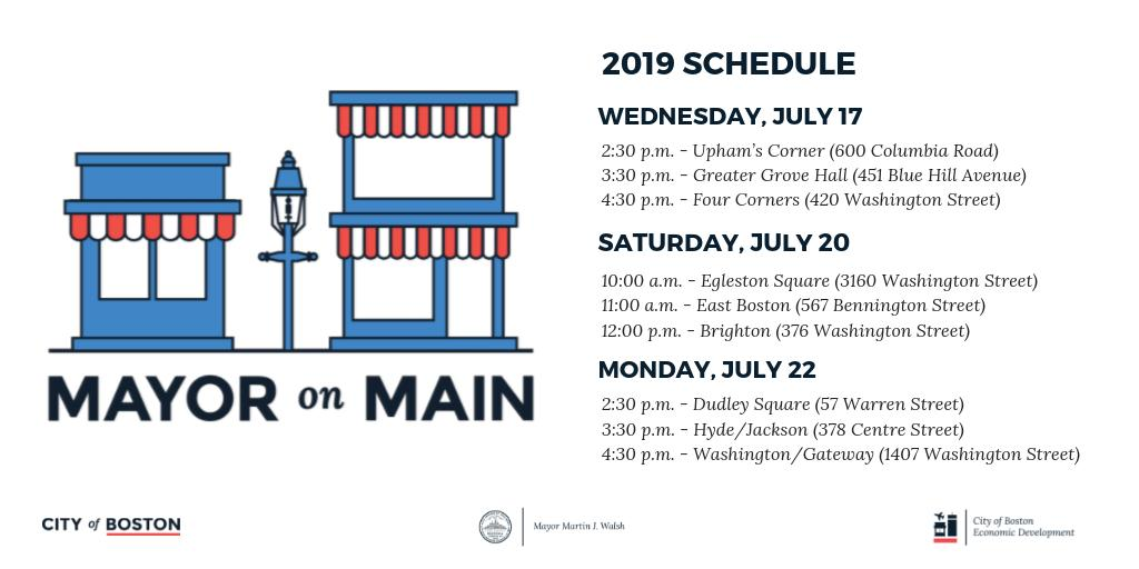 f98664a6c72409 #MayoronMain is back Wednesday, July 17! Join us to celebrate  @BosMainStreets businesses and volunteers that make our neighborhoods  thrive!pic.twitter.com/ ...