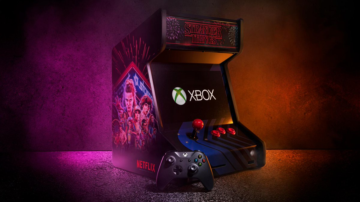 Want it? Win it.   RT for a chance to win this #StrangerThings Collectible Arcade Cabinet and an Xbox One X. #ST3Xbox #Sweepstakes  Terms: https://xbx.lv/2Gc06AF