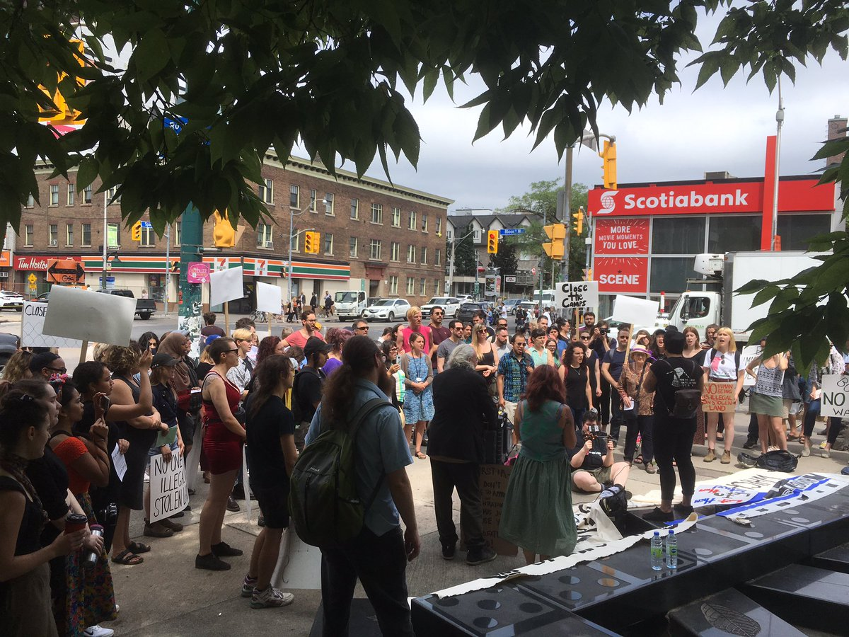 Big crowd in Toronto right now  outside the Minister of Foreign Affairs @cafreeland office demanding action to  #CloseTheCamps and stop immigration detention.  Kids are in concentration camps! Canada is deeply complicit — we refuse to  look away, to be complacent. #NeverAgain