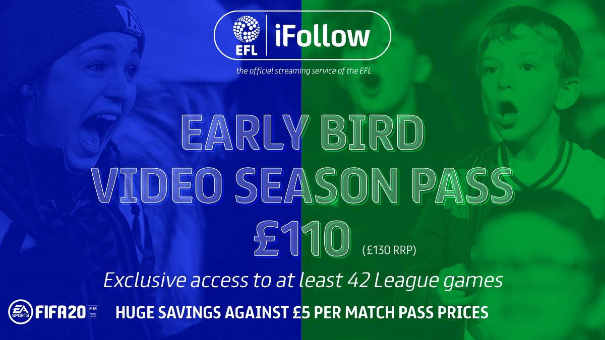 Follow your team wherever you are in the world… The International Video Season Pass is now available, with 70% of net revenue going back to your Club! More: po.st/InternationalE… #EFL | #iFollow