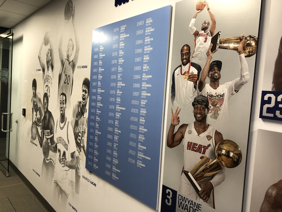 """Hey @DwyaneWade, you may have retired, but we haven't moved you to the """"old"""" portion of our NBA graphics display with @stevenovak16 yet. #mubb"""