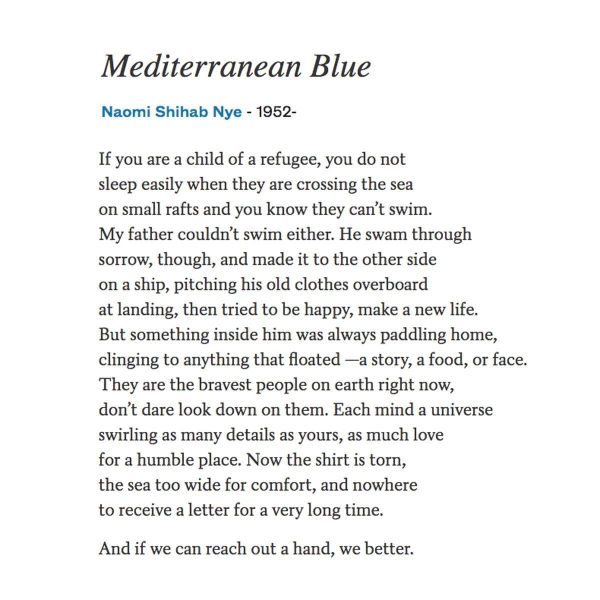 And if we can reach out a hand, we better. —Naomi Shihab Nye poets.org/poem/mediterra…