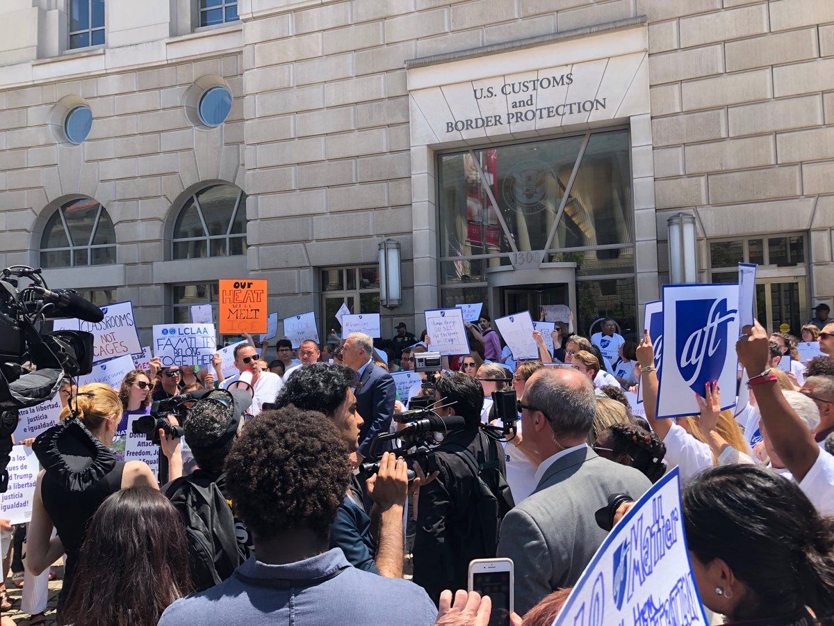 Classrooms not cages! No justice no peace! @AFTunion members rallying in DC to protest inhumane immigration policies.  #TEACH19 #CloseTheCampsNow #FamiliesBelongTogether @BTU66 @AFTMass