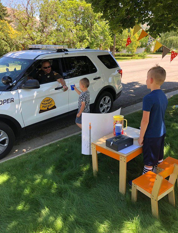 Fallen hero, Trp. Eric Ellsworth, had his sons lemonade stand visited by Trp. Jensen of Section 1. Photo courtesy of Trp. Ellsworths wife. Lemonade will cool you off on a hot day, but Trp. Jensens actions and support here...warms our heart!