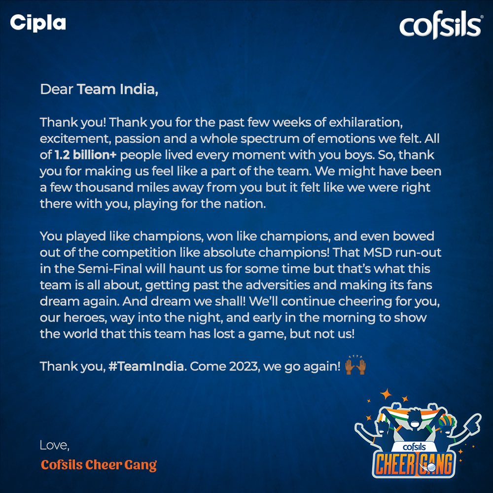 An Open Letter - from the fans, to the champions. You did us proud, #TeamIndia!   #CofsilsCheerNonStop #CWC19 <br>http://pic.twitter.com/DSjH9mspsM