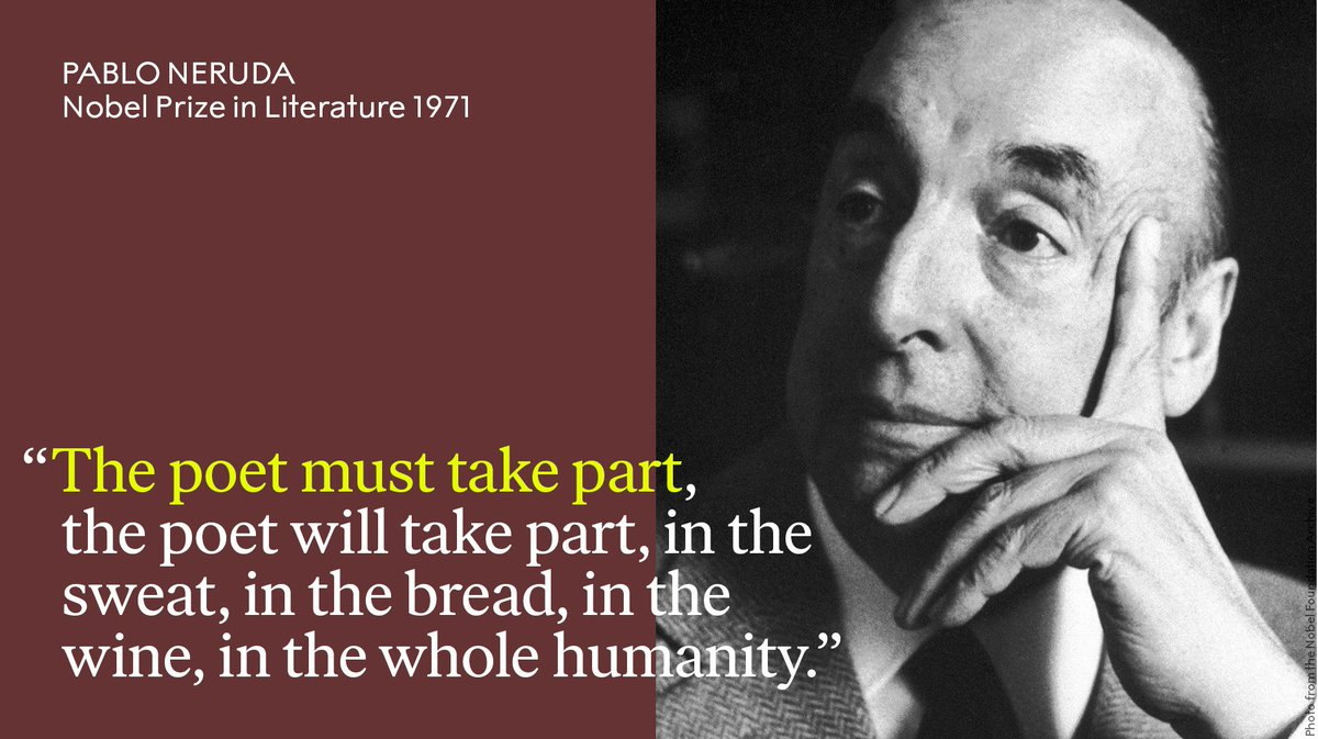 """Chilean poet-diplomat Pablo Neruda - born #OTD 1904 - was awarded the Nobel Prize in Literature 1971 """"for a poetry that with the action of an elemental force brings alive a continent's destiny and dreams."""""""