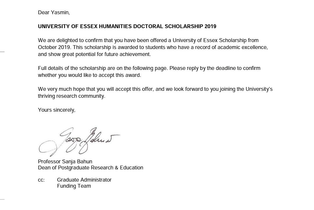 10 years ago, my English teacher in middle school told me that I'll never be able to speak English. Yesterday, I was awarded the @Uni_of_Essex's Doctoral Scholarship in Humanities, where I'll start my PhD in Law in Oct. Feeling immensely grateful and blessed  <br>http://pic.twitter.com/1yrlfMQhon