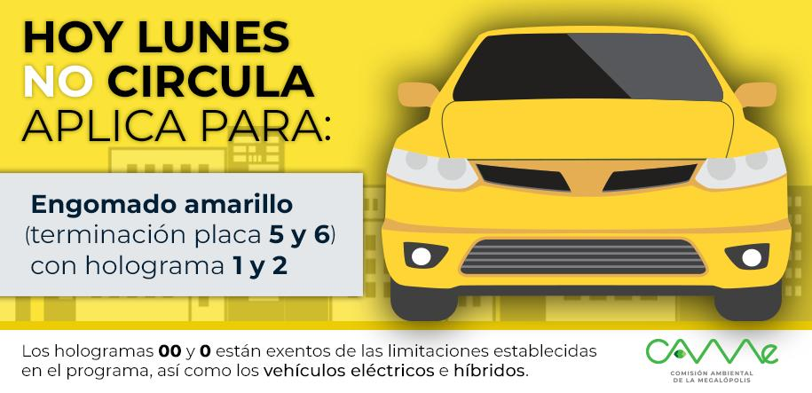 ¡Buenos días! 🌞#HoyNoCircula Lunes 19 de agosto en la #ZMVM para vehículos con #EngomadoAmarillo con terminación de placas 5 y 6, holograma 1 y 2. 🚕🚗🚘🚙🚛#CAMegalópolis