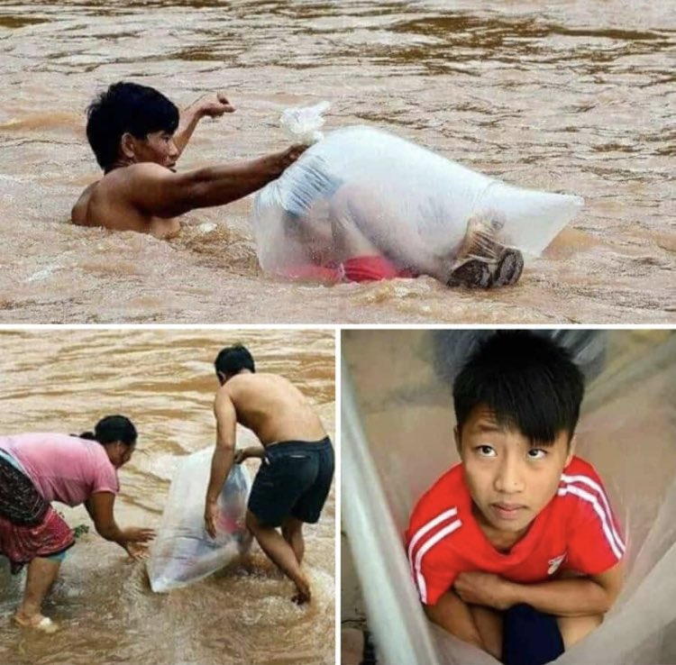 Every morning these Vietnamese parents carefully enclose their son in a plastic bag so his dad can carry him across the river to school so he can stay dry, and after school his dad gets him home the same way   Reply with your excuse.. #life #BeThankful <br>http://pic.twitter.com/mIiMxU9WYS