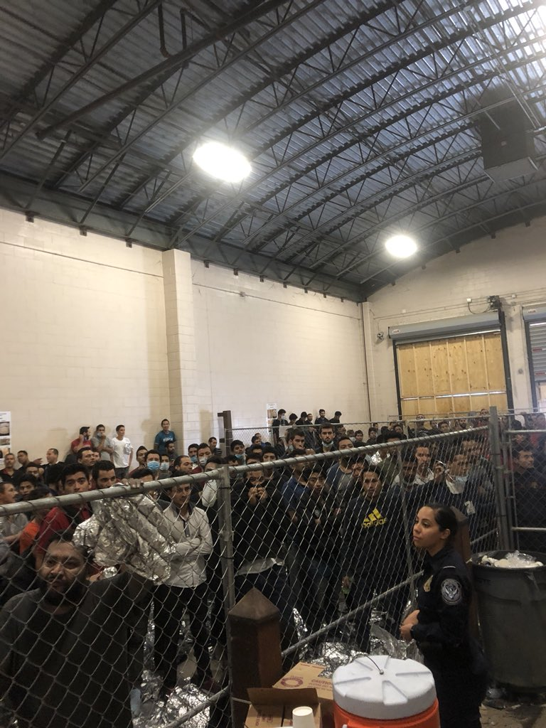 VP saw 384 men sleeping inside fences, on concrete w/no pillows or mats. They said they hadn't showered in weeks, wanted toothbrushes, food. Stench was overwhelming. CBP said they were fed regularly, could brush daily & recently got access to shower (many hadn't for 10-20 days.)