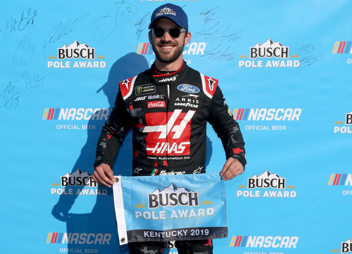 Retweet to congratulate @Daniel_SuarezG on his #BuschPole win at @KySpeedway!