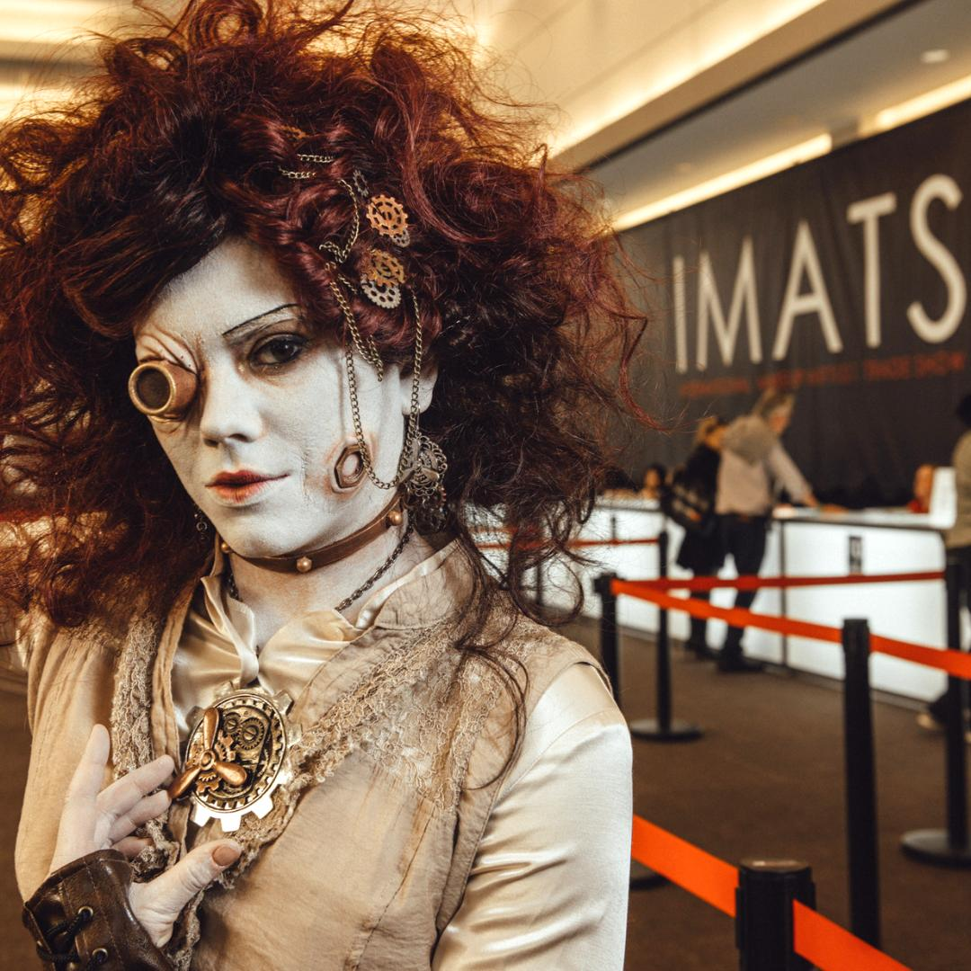 Clock is ticking... are you ready for #imatsTORONTO? Don't miss it September 28-29 ⌛️ . [MUA: Korbyn Rachel at #imatsLA 2018] . . . #steampunk #steampunkoutfit #misfit #cosplay #costume #crazymakeup