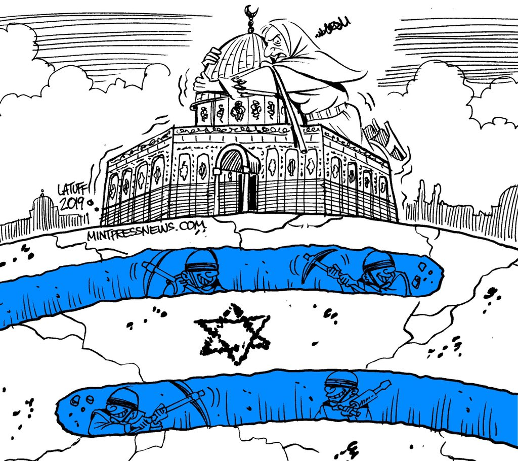 Christian Zionists, much like religious Zionist extremists in Israel, believe that the Al Aqsa mosque and the Dome of the Rock must be replaced with a Third Jewish Temple in order to usher in the end times. mintpressnews.com/third-temple-a… Cartoon by @LatuffCartoons.