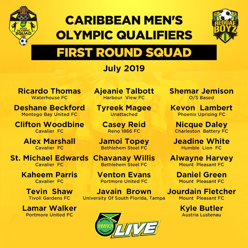 Here is the members of the 23- player Under 23 Caribbean Men's Olympic Qualifiers Squad for the first round the Olympic Qualifiers.... Stay tuned for the naming of the U23 squad who will represent Jamaica in the 2019 Pan American Games.  #JFFLive #ReggaeBoyz #ReggaeFootball