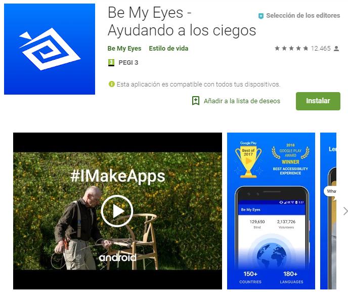 """¿Conocéis la aplicación """"Be my eyes""""?   Esta APP te permite """"ser los ojos"""" de una persona ciega o con déficit en la visión. ¿Cómo? Cuando estas personas solicitan ayuda, llegará a los voluntarios una notificación para ayudarles en la tarea. ES GRATUITA."""