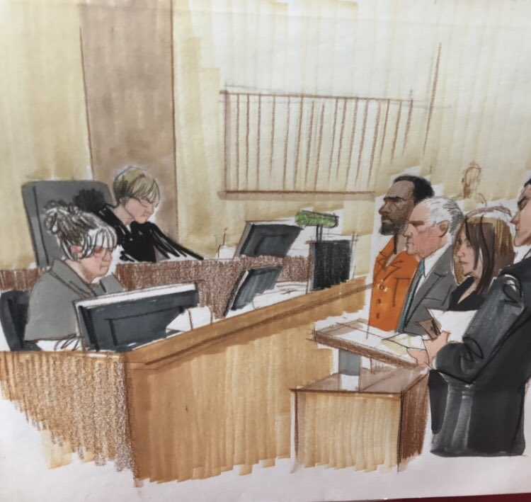 R.Kelly appears in federal court alongside his attorney. He will spend at least the weekend in jail. Detention hearing set for next week. @cbschicago Sketch: Cheryl Cook