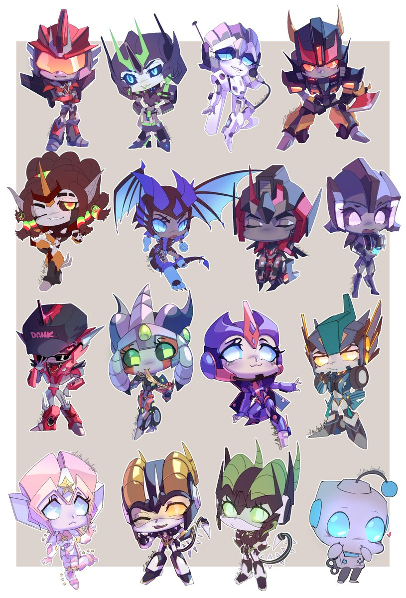 Spent ages on this, but all of the Iron Artist chibis are done 😫! Each character belongs to their respective onwers. #transformers #Oc #chibi