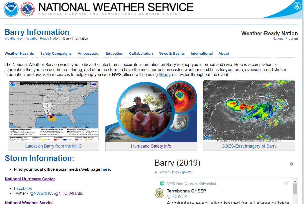 We've created a #Barry landing page that pulls together critical information to keep you informed.💧Latest from the National Hurricane Center💧Safety/Preparedness Actions 💧Products from across NOAA💧Social Media Accounts to Followhttp://www.weather.gov/wrn/barry