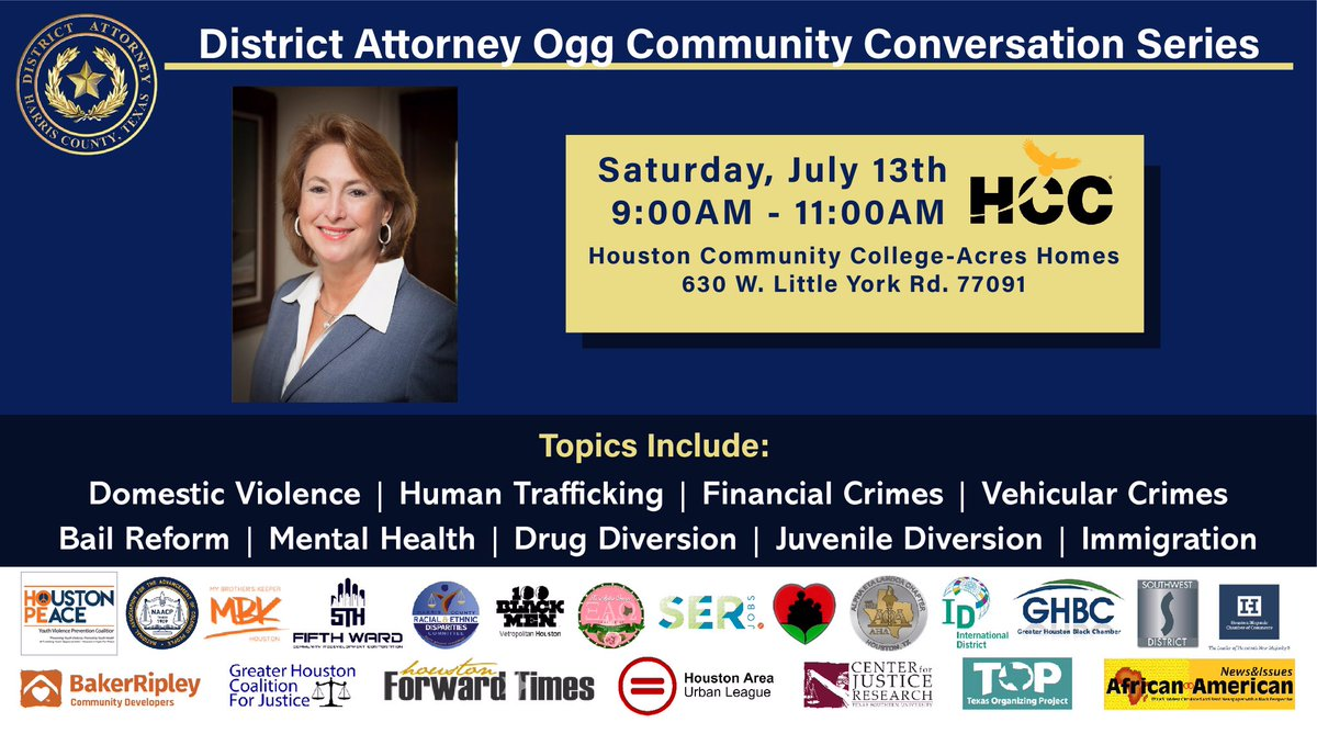 Join us tomorrow at the HCC Acres Homes campus for our next community conversation!