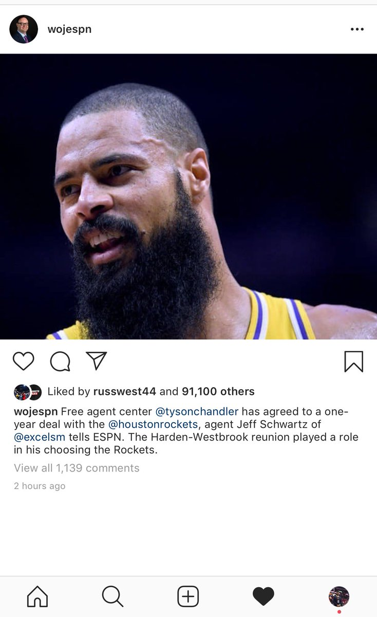 Russell Westbrook likes the signing of Tyson Chandler. #Rockets